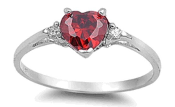 Sterling Silver Ruby Heart CZ Ring
