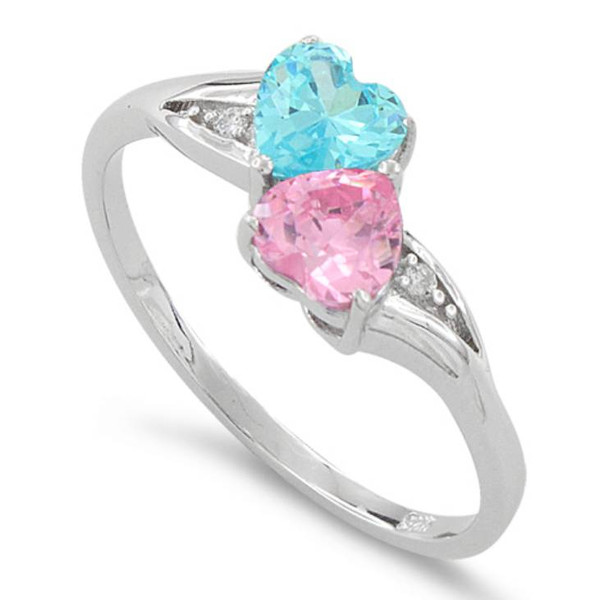 Sterling Silver Double Heart Pink & Blue Topaz CZ Ring
