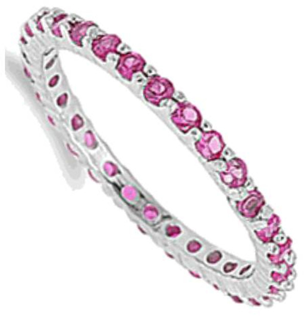 Sterling Silver Ruby Eternity Stackable CZ Ring