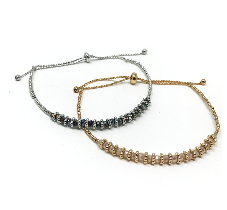 Bracelet - Self Adjusting - Thin Band with Beads - Gold