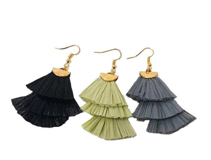 Layered Tassel Drop Earrings - Olive