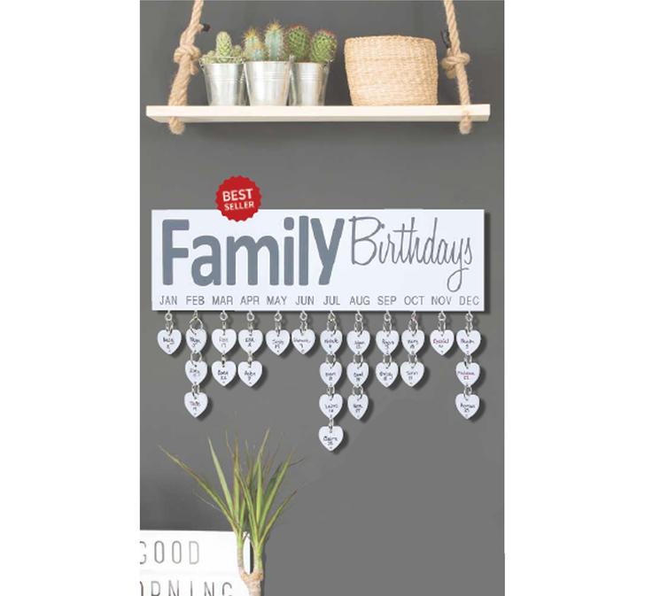 Home Wall Sign - Family Birthdays Decoration