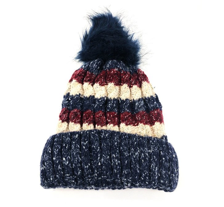 Women's Striped Winter Hat with Pom Pom and Sherpa Lining - Blue