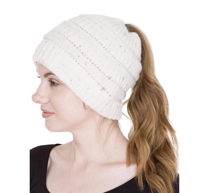 Women's Ponytail Beanie Hat - Ivory