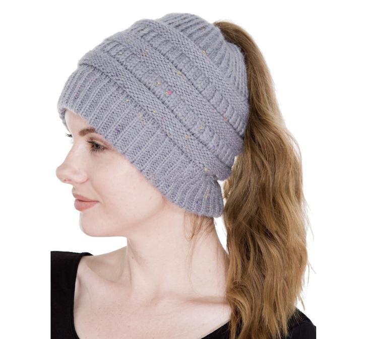 Women's Ponytail Beanie Hat - Grey