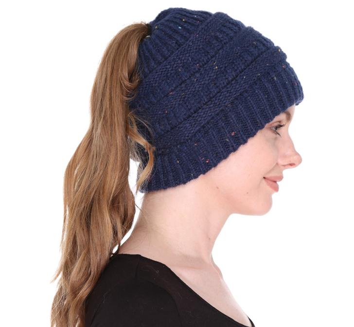 Women's Ponytail Beanie Hat - Navy