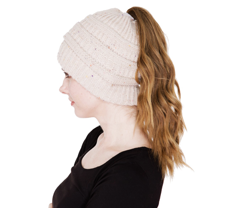 Women's Ponytail Beanie Hat - Beige