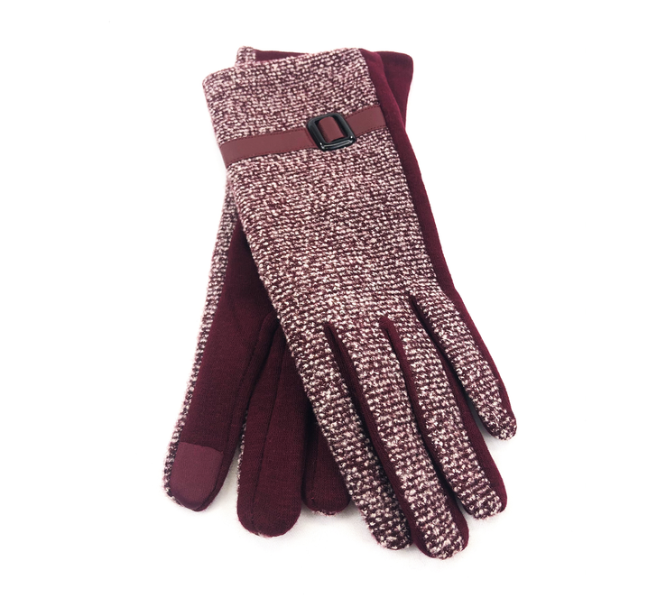Gloves - Women Marled Touch Screen - Dark Red