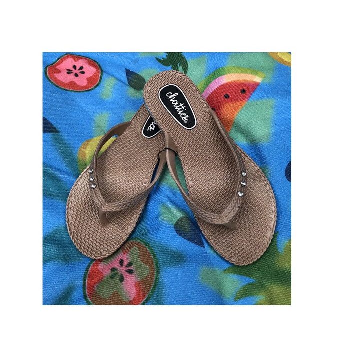 Thong Style Sandals with Rhinestones - Tan