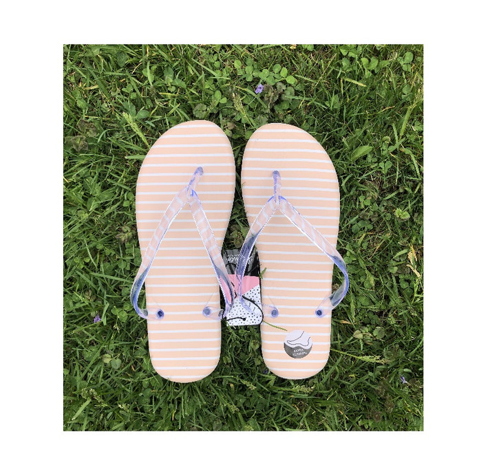 Light Pink Thong Style Sandals with Stripes