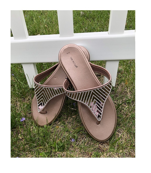 Rose Gold Thong Style Sandals with Rhinestones
