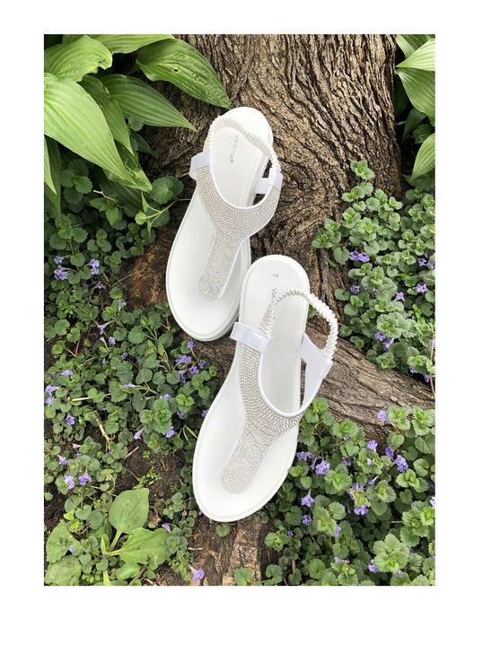 White Thong Style Sandals with Rhinestones and Backstrap