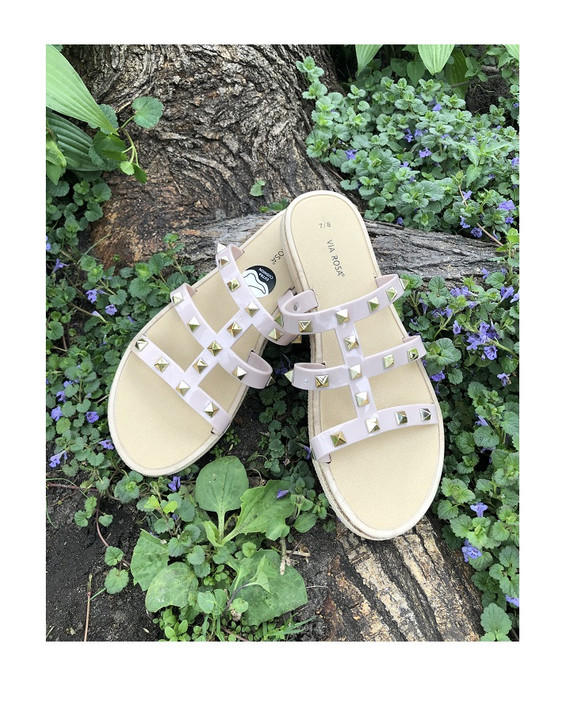 Nude Color Slide Sandals with Gold Pyramid Accents