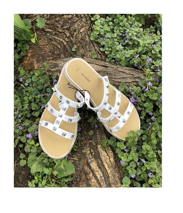 White Slide Sandals with Gold Pyramid Accents