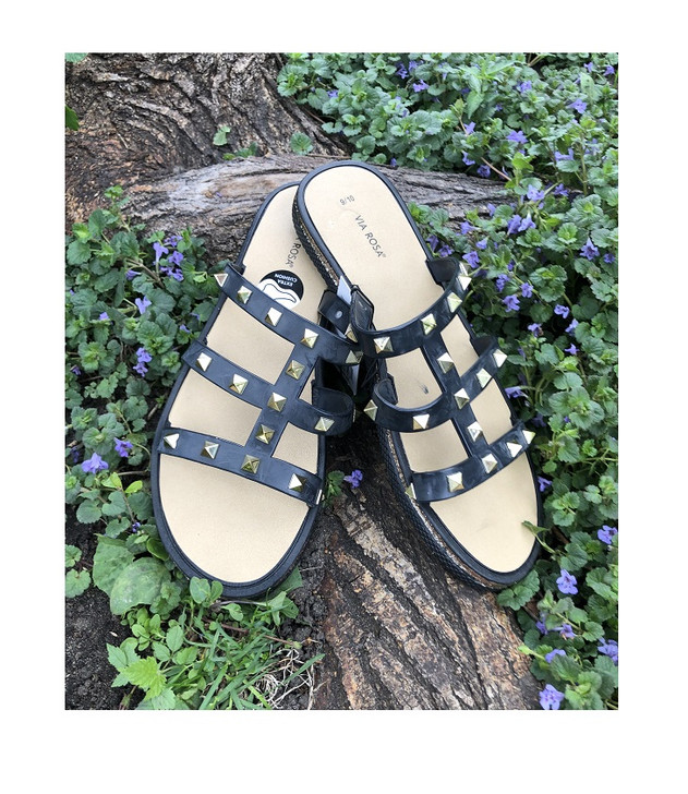 Black Slide Sandals with Gold Pyramid Accents