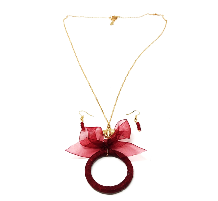 Fabric Wrapped Circle Pendant w/ bow and Bee Medallion - Dark Red