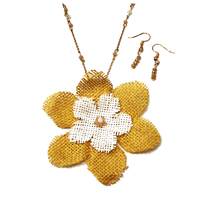 Two Tone Wicker Flower with Beads - Mustard