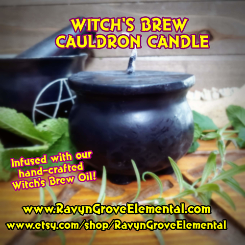 Witch's Brew Black Cauldron Candle crafted by Ravyn Grove Elemental is a great item to use to represent the Goddess and call upon that Goddess energy. Add creative force to all your magickal workings!