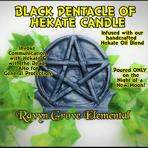 Use Black Pentacle of Hekate Candle to invoke Communication with Hekate and with the Dead. Also for general protection; hand-poured by Ravyn Grove Elemental LLC.