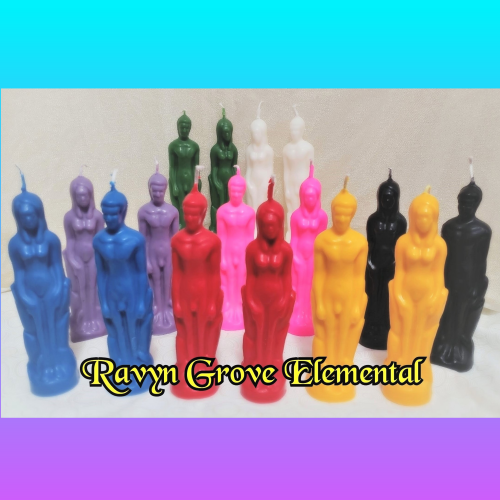 Use our Female Figure Candle in any of your love workins, lust workins, or any bindins of female energy, hand-poured by Ravyn Grove Elemental. All Colors Male
