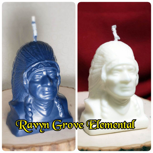 Traditional Hoodoo Indian Spirit Candles poured in honor of Black Hawk or White Eagle, hand-poured by Ravyn Grove Elemental.