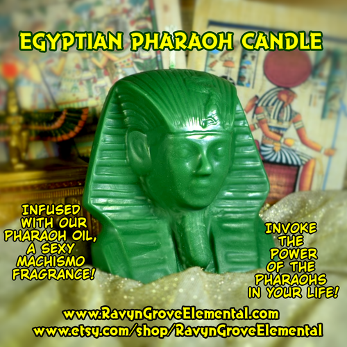 Invoke the power of the Pharaohs in your life with our Egyptian Pharaoh Candle, crafted by Ravyn Grove Elemental LLC.