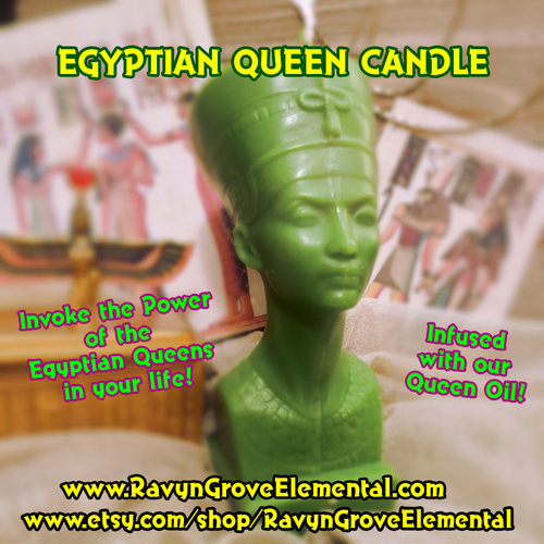 Egyptian Queen Candle hand-poured by Ravyn Grove Elemental - invoke the power of the Egyptian Queens into your life!