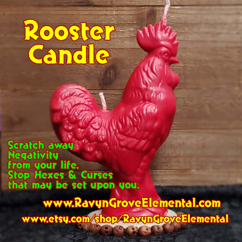 Use our Rooster Candle to scratch away negativity from your life and to stop hexes and curses that may be set upon you, a Ravyn Grove Elemental exclusive. Red Side