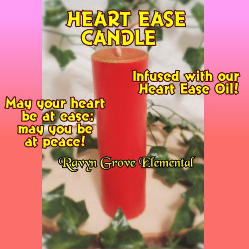 May your heart be at ease; may you be at peace with our Heart Ease Pillar Candle, a Ravyn Grove Elemental exclusive.