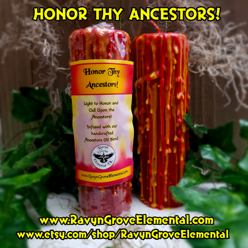 Honor The Ancestors and bring the sweetness of them into your life with this sweet smelling pillar candle! Scented with our Handcrafted Ancestors Oil Blend.
