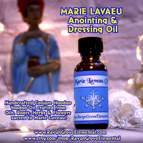 Use Ravyn Grove Elemental's Marie Laveau Oil to Invoke the power of Marie Laveau's magick for the purposes of domination, love, or to get your heart's desires, including money.