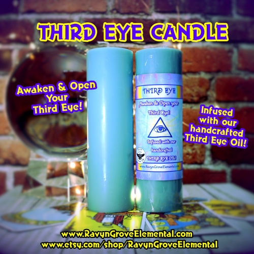 Use Ravyn Grove Elemental's THIRD EYE CANDLE to meditate on to Open and Awaken your Third Eye!  Infused with our Third Eye Oil Blend!