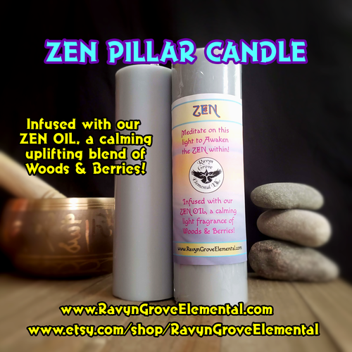 ZEN Meditation Candle infused with our handcrafted ZEN OIL, a calming uplifting fragrance of Woods & Berries! Awaken the Zen within!