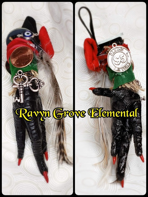CHICKEN FOOT PROTECTION CHARM use to scratch away negativity and protect ya and to bring good fortune, handmade & fixed/blessed by Doktor Grey-Ravyn from Ravyn Grove Elemental.