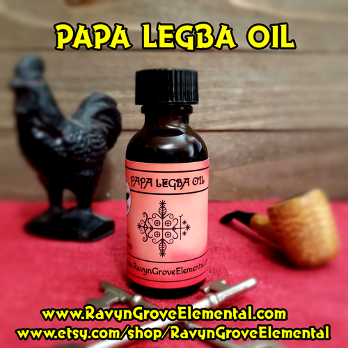 Use PAPA LEGBA OIL to summon, invoke, and bring forth the Power of the Guardian of the Crossroads PAPA LEGBA, whether for communication or to see new opportunities and remove blocks from your path, crafted by Ravyn Grove Elemental.