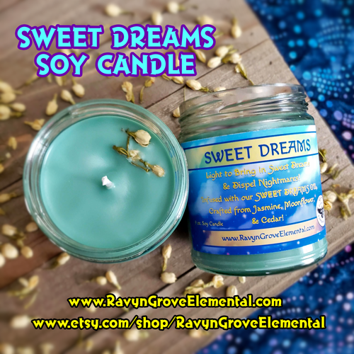 Light our Sweet Dreams  Candle, created by Ravyn Grove Elemental LLC, crafted from Jasmine, Moonflower, & Cedar Oils!
