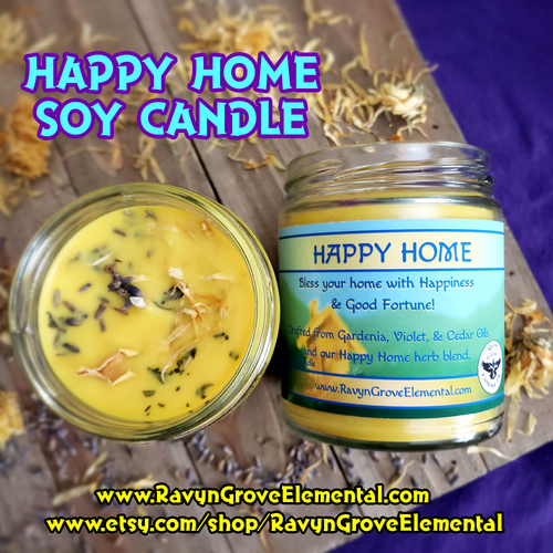 Happy Home Jar Soy Candle crafted by Ravyn Grove Elemental from Gardenia, Violet, & Cedar. Bless this home with Happiness & Good Fortune!