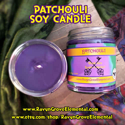 Ravyn Grove Elemental's PATCHOULI - 9oz Meditation Soy Jar Candle. Great for use in Meditation, as well as Love, Passion, Wealth, & Prosperity Workins!