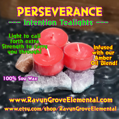PERSEVERANCE - AMBER Oil Blend - INTENTION TEALIGHT SOY CANDLE - Crafted by Ravyn Grove Elemental LLC. Light to call forth extra strength to carry you through!  Set of 3.
