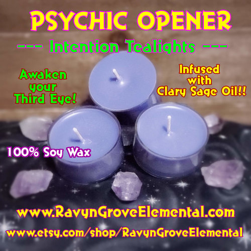 PSYCHIC OPENER - CLARY SAGE OIL - INTENTION TEALIGHT SOY CANDLE Crafted by Ravyn Grove Elemental LLC - Awaken your Third Eye!  Transform your Intention into the Here & Now! Set of 3.