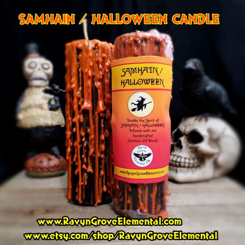 SAMHAIN / HALLOWEEN PILLAR CANDLE crafted by Ravyn Grove Elemental LLC - Invoke the Spirit of Samhain / Halloween! Infused with our handcrafted Samhain / Halloween Oil - a dark, smoky, sweet fragrance!