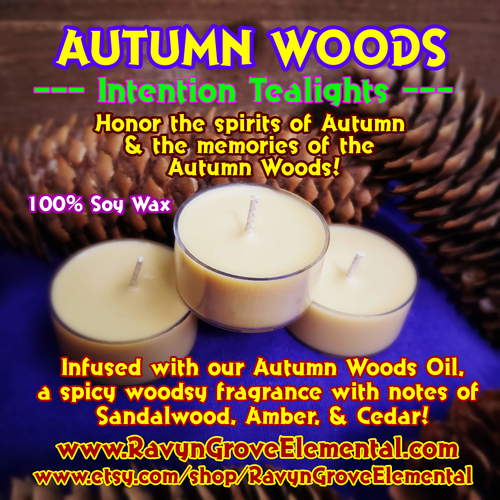 AUTUMN WOODS Tealight Candles crafted by Ravyn Grove Elemental - Spiritually charged to honor the spirits of Autumn and the memories of the Autumn Woods! Infused with our Autumn Woods Oil - a spicy woodsy fragrance with notes of sandalwood, amber, and cedar! Set of 3