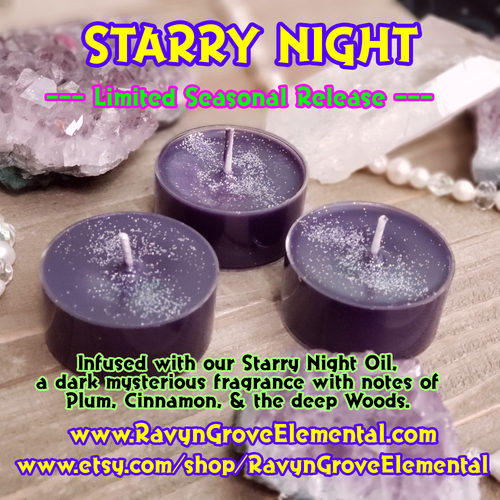 STARRY NIGHT - Limited Seasonal Release Tealight - a dark mysterious fragrance with notes of plum, cinnamon, and the deep woods!