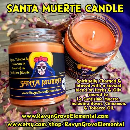 Invoke the Powers of The Holy Death and honor Her with our SANTA MUERTE CANDLE  crafted by Ravyn Grove Elemental! Spiritually charged and infused with our Santa Muerte Oil, crafted from a special blend of Herbs & Oils sacred to La Santisima Muerte, including Roses, Cinnamon, & Tobacco Oil.