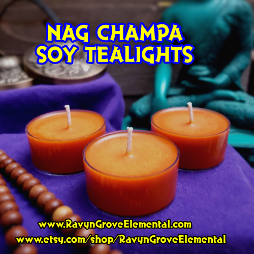 Light our NAG CHAMPA TEALIGHTS, crafted by Ravyn Grove Elemental LLC, to Sanctify and Cleanse a space and help achieve a state of Calm, Clarity, and Focus!