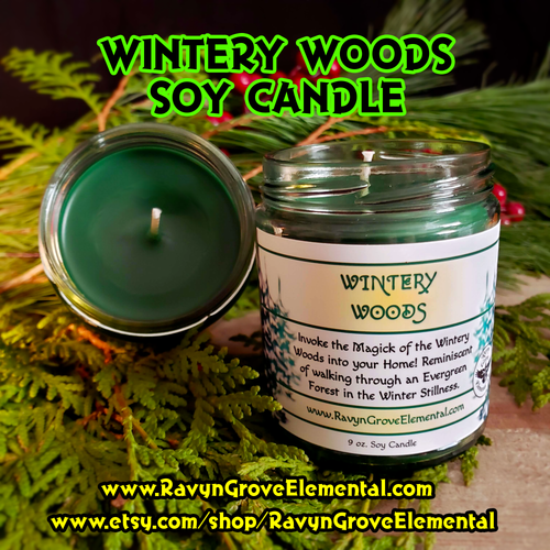 WINTERY WOODS Limited Release 9 oz Jar Soy Candle crafted by Ravyn Grove Elemental LLC - Invoke the Magick of the Wintery Woods into your home!