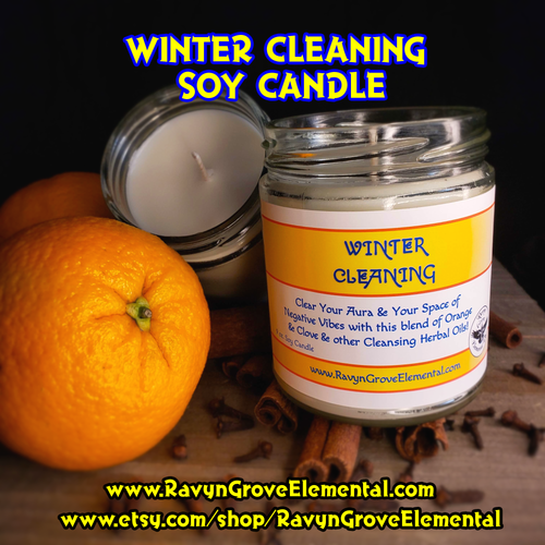 WINTER CLEANING Limited Seasonal Release Jar Soy Candle crafted by Ravyn Grove Elemental LLC Infused a blend of Orange & Clove and other Cleansing Herbal Oils! Clear  your aura and space of negative energies!