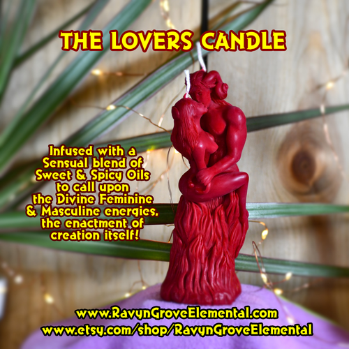 THE LOVERS FIGURE CANDLE crafted by Ravyn Grove Elemental LLC; infused with a sensual blend of Sweet & Spicy Oils to call upon the Divine Feminine & Masculine energies, the enactment of creation itself. Great for Workins honoring the Great Rite, Love Workins, and Attraction Workins!!