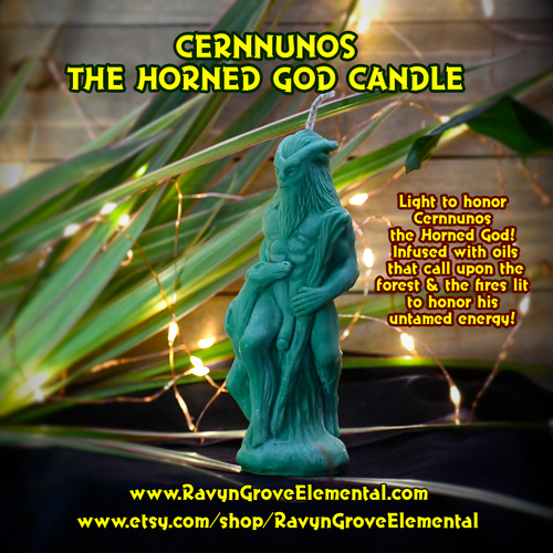 Cernnunos the Horned God crafted by Ravyn Grove Elemental and infused with oils that call upon the forest and the fires lit to honor his untamed energy