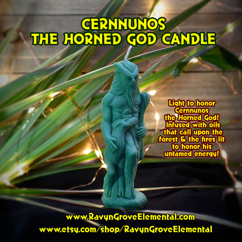 Cernnunos the Horned God crafted by Ravyn Grove Elemental and infused with oils that call upon the forest and the fires lit to honor his untamed energy.